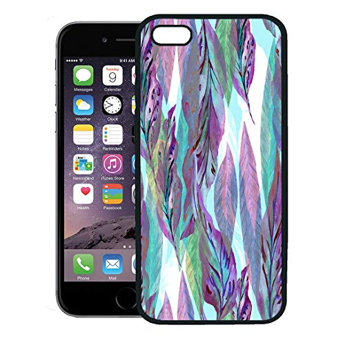 (Semtomn Phone Case for iPhone 8 Plus case Cover,Colorful Pattern Leaves Watercolor Painting Neon Effect Leafs Blue Serenity Violet Colour Pink Foliage,Rubber Border Protective Case,Black)