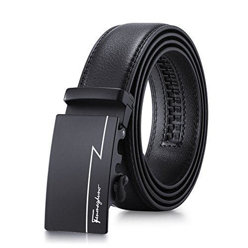 Tiitc Men's Leather Ratchet Dress Belt Automatic Buckle - Black 1.38'' Wide (Black 04)