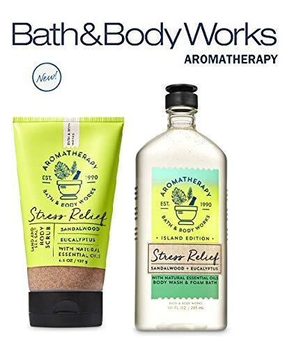 - Bath and Body Works SANDALWOOD EUCALYPTUS Set Aromatherapy STRESS RELIEF ~ Sand & Sea Salt Body Scrub and Body Wash & Foam Bath Full Size
