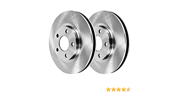 AutoShack PR65096DSZPR Rear Drilled and Slotted Brake Rotor Pair Silver 2 Pieces Fits Driver and Passenger Side