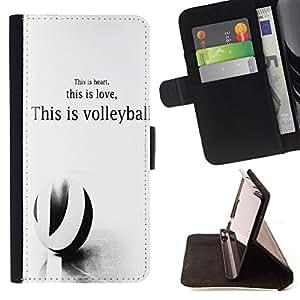 King Art - Premium-PU-Leder-Prima caja de la PU billetera de cuero con ranuras para tarjetas, efectivo Compartimiento desmontable y correa para la mu?eca FOR HTC Desire 820 D820 d820t- Eat Play Love Volleyball