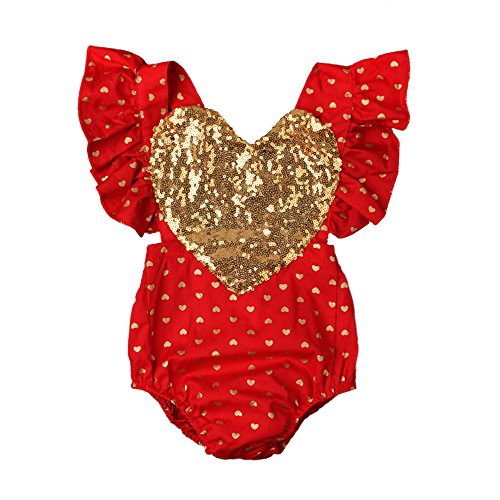 Newborn Baby Girls 1st Valentines Day Outfit Sequin Heart Romper Flutter Ruffle Sleeve Bodysuit Summer Backless Jumpsuit Sunsuit First Birthday Cake Smash Party Clothes Photo Shoot Costume Red 0-6M