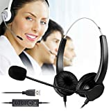 BizoeRade USB Plug Corded Headphone Call Center Comfort Noise Cancelling Headset With Adjustable Mic, Mute Volume Control for Calls on Laptops PCs Computers – [Binaural]