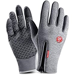 IINFINE Winter Touchscreen Gloves Women Men Lightweight Leather Windproof Waterproof Outdoor Cold Weather Thermal Running Sports Driving Cycling Warm Lined Gloves(Gray-Large)