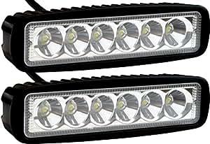 2 Pack - EPAuto 18W 1530lm LED Light Bar Straight Spot Beam Waterproof Mount for Jeep / Van / Wagon / ATV / SUV / Pickup / Off-road