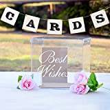 Unomor CARDS Banner for Wedding Card Box, White Cards Sign for Rustic Wedding Decorations