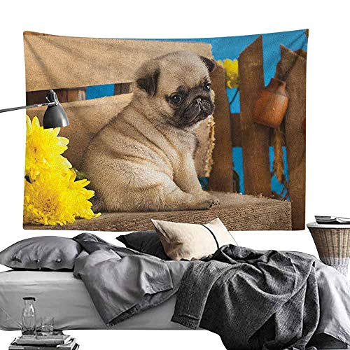 MaureenAustin House Decor Tapestry,Pug,Adorable Puppy Photography with Sad Dog and Wildflowers on a Park Bench, Pale Brown Yellow Blue Tapestries for Living Room Bedroom Dorm50 x60 ()