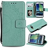 Galaxy A3 2015 Floral Wallet Case,Galaxy A3 2015 Strap Flip Case,Leecase Embossed Totem Flower Design Pu Leather Bookstyle Stand Flip Case for Samsung Galaxy A3 2015-Green