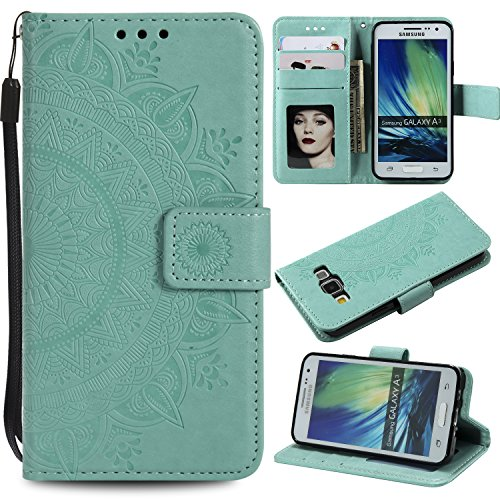 Galaxy A3 2015 Floral Wallet Case,Galaxy A3 2015 Strap Flip Case,Leecase Embossed Totem Flower Design Pu Leather Bookstyle Stand Flip Case for Samsung Galaxy A3 2015-Green by Leecase