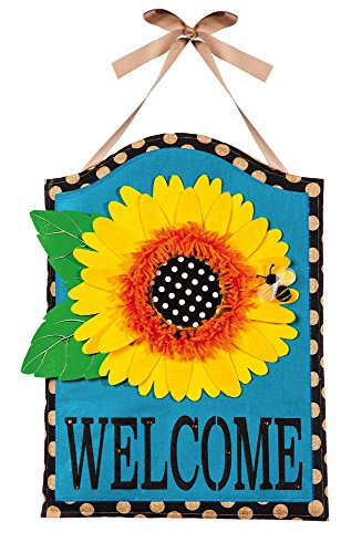 "Evergreen Sunflower Welcome Hanging Outdoor-Safe Burlap Door Décor - 15.75""W x 21.5""H (Hangers Door Spring)"