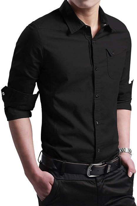 SBL Camisa de Algodón de Manga Larga para Hombre, Camisa de Hombre Delgado para Jóvenes, Camisa de Viento Militar: Amazon.es: Deportes y aire libre