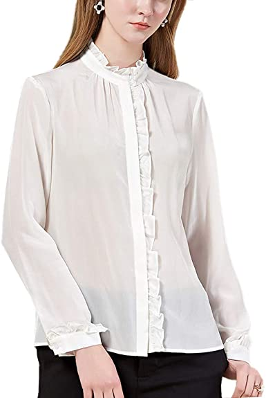 DISSA S6576 - Blusa para mujer, 100% seda, cuello alto, manga ...