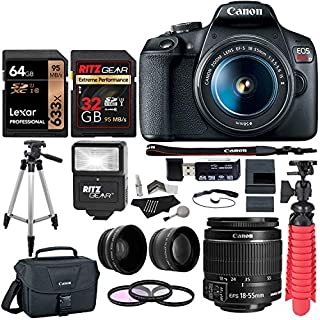 """Canon EOS Rebel T7 24MP Camera with EF-S 18-55mm is II Lens, 2 Memory Cards, Slave Flash, 50"""" Tripod, Camera Bag, Cleaning Kit and Memory Card Reader/Writer Bundle"""