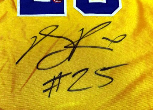 "SIMEON HIGH SCHOOL DERRICK ROSE AUTOGRAPHED YELLOW JERSEY""#25"" PSA/DNA STOCK #43481"