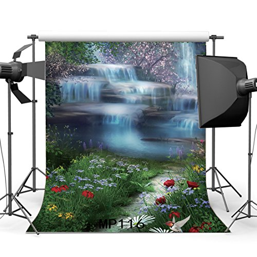 Gladbuy 3X5FT Spring Backdrop Fairytale Enchanted Garden Forest Waterfall Blooming Fresh Flowers Pool Green Grass Field Bird Fantasy Vinyl Photography Background Baby Girls Photo Studio Props MP116