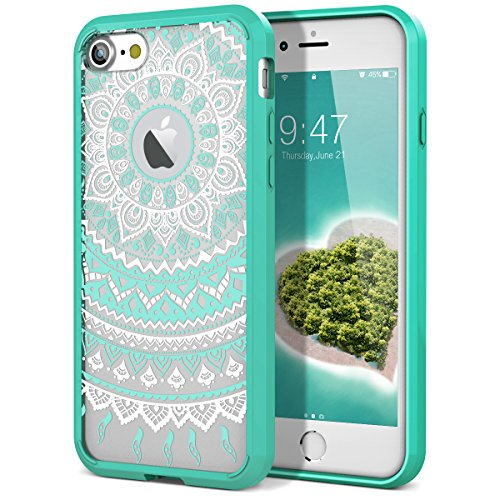 iPhone 8 Case, iPhone 7 Case, SmartLegend [Totem Series] Shock Absorption Full Body Rugged Bumper Clear with Mandala Floral Design Hybrid Protective Case for iPhone 8/iPhone 7- Mint