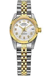BINGER Women's Datejust Diamond Analog Gold Bezel Automatic Watch With Two Tone Stainless Steel Bracelet