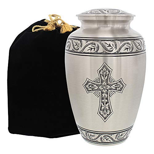 (Grace and Mercy Pewter Cross Adult Cremation Urn for Human Ashes - A Warm and Lovely Large Urn with a Hand Crafted Classy Finish to Honor Your Loved One - with Velvet Bag)