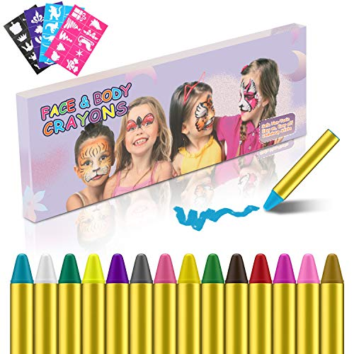 Magicfun Face Paint Crayons 24 Colors Safe & Non-Toxic Face and Body Crayons for Kids Washable Face Painting Crayons(4 PCS Painting Stencils Gift)