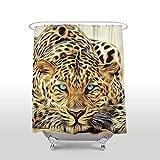 Leopard With Blue Eyes Wild Animal Print Shower Curtain Bath Decor