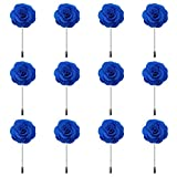 RareLove 12pcs White Lapel Pin Rose Wedding Boutonniere Set For Men Flower (Blue)