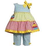 Bonnie Jean Size-12M, Multi, BNJ-7448R, 2-Piece Multi-Colorblock Sequined Cupcake Seersucker Capri-Pants Set, Baby-Infant Party Dress
