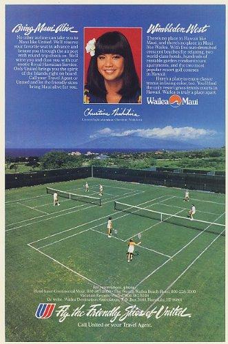 1983 United Airlines FA Christine Nishihira Wailea Maui HI Wimbledon Tennis Print Ad (Memorabilia) - Hi Wailea Maui