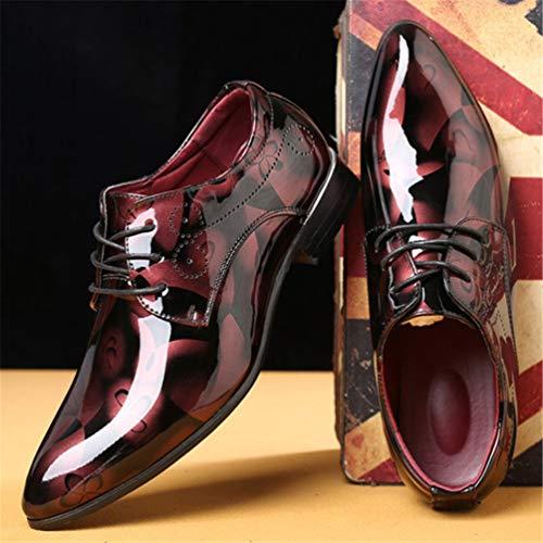 Uomini Nozze Pelle in Brevetto per Scarpe Formale Oxford Business Uomini Gli Scarpe Rosso ZwHAn