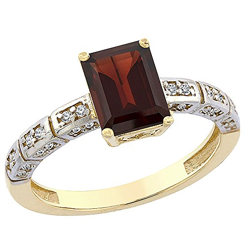 14K Yellow Gold Natural Garnet Octagon 8x6 mm with Diamond Accents, sizes 5 - 10