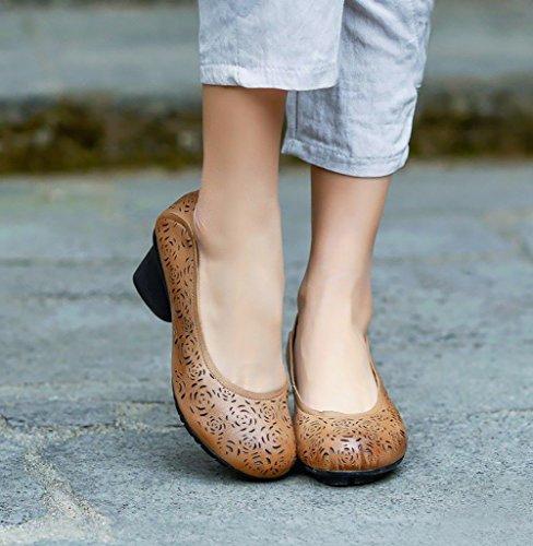 3 baja 5 YNXZ suela Sandalias para zapatos SHOE oveja Cabeza antideslizante de goma Marrón Temporadas de de mujeres de transpira comodidad temperamento piel Casual de boca creativa cm medio redonda tacón xPgBxwnr