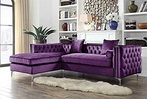 Iconic Home Da Vinci Velvet Modern Contemporary Button Tufted with Silver Nailhead Trim Silvertone Metal Y-leg Left Facing Sectional Sofa, (Chaise Purple)