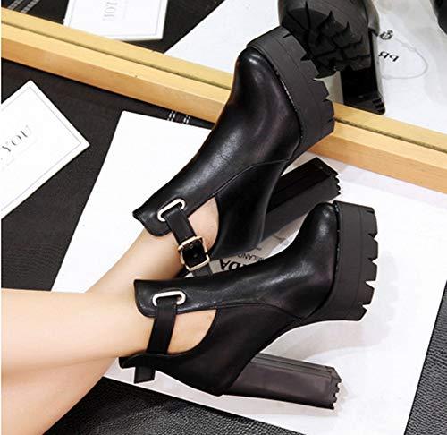 Bloc Soirée Talon Haut Boucle À Noir Bottines Aisun Fête Femme Mode Miss nASqAY4