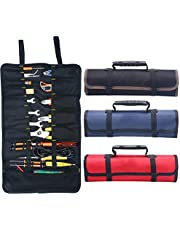 Kani Large Wrench Roll Up Tool Roll Pouch Bag with 22 Pockets, Waterproof Canvas Wrench Roll Organizer Bag for Craftwork Handyman Electrician