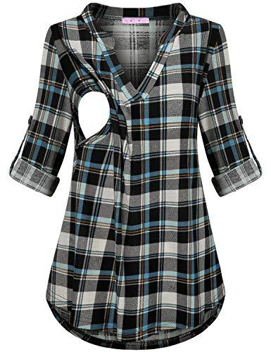 (JOYMOM Nursing Tops for Breastfeeding,Maternity Cute Flattering V Neck 3/4 Sleeve Blouses Feminine Slimming Trapeze Shirttail Knitted T-Shirt Baby Shower Casual Wear Blue Black Plaid L)