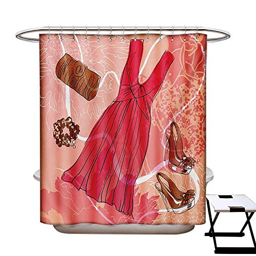 Heels and Dresses Shower Curtains Sets Bathroom Spring Inspired Floral Abstract Backdrop Pink Dress Shoes Bracelet Satin Fabric Sets Bathroom W69 x L70 Pink Brown White
