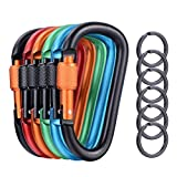 6 Pcs Upgraded D-Ring Locking Carabiner, 3.1 Inch D Shape Keychain Clips for Outdoor, Camping, Hiking, Fishing, Home RV, Travel, 6 Spring-Loaded Gate Hook with 6 Key Rings