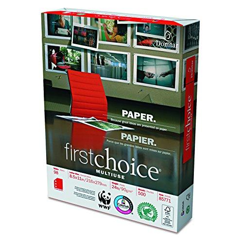 Domtar 85771 MultiUse Premium Paper, 3-Hole Punch, 98 Brightness, 24lb, Ltr, White, 500 per Ream