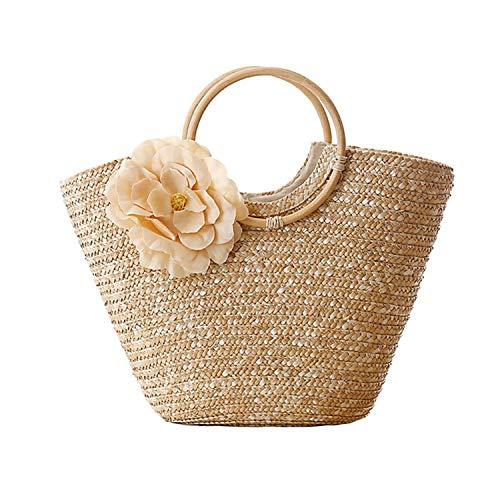Women's Straw Handbag Flower Woven Summer Beach Messenger Tote Bag Basket Shopper Purse,Beige