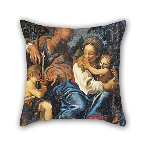 Pillowcase Of Oil Painting Schedoni, Bartolomeo - Holy Family 18 X 18 Inches / 45 By 45 Cm,best Fit For Car,lounge,dinning Room,kids,bedroom,birthday 2 ()