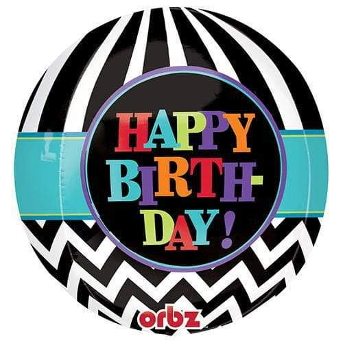 Anagram 28334 Dancing Lines Birthday Orbz Foil Balloon 16 Multicolored
