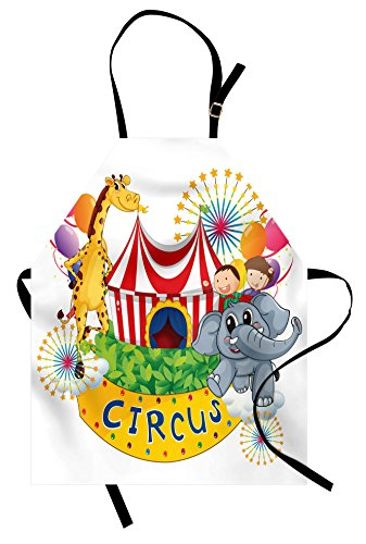 Ambesonne Circus Apron, Circus Show with Kids and Animals Smiling Magician Childhood and Happiness Theme, Unisex Kitchen Bib Apron with Adjustable Neck for Cooking Baking Gardening, Multicolor]()