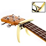 Takit Guitar Capo For Acoustic And Electric Guitar - Also For Ukulele, Banjo And Mandolin - Single-Handed Professional High Performance Trigger Action Style Built Of Zinc Alloy - Gold