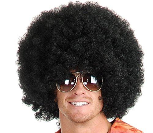 Afro Wig (Unisex) - Choose Style - #1 Afro Disco Hippie 60s 70s Wig (Black) (80s Womens Fancy Dress)
