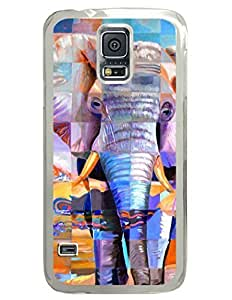 Abstract Colorful Elephant DIY Hard Shell Transparent Samsung Galaxy S5 I9600 Case Perfect By Custom Service