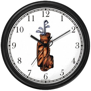 Golf Club Clock - Golf Bag with Clubs - Golf Theme Wall Clock by WatchBuddy Timepieces (Black Frame)
