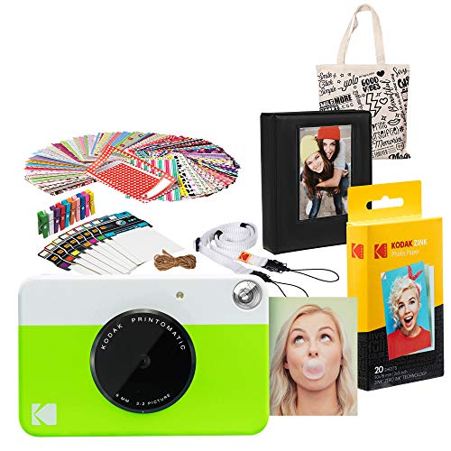 Kodak PRINTOMATIC Instant Print Camera (Green) Gift Bundle with Photo Album