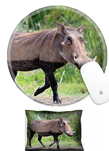 Luxlady Mouse Wrist Rest and Round Mousepad Set, 2pc IMAGE: 24898225 Wild warthog dressed in lingerie by lake s dirty Ngorongoro crater Tanzania Africa - Africas Best Silky Set