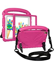 """HDE iPad 9.7"""" 2018/2017 Case for Kids Childproof Handle Strap Stand Cover with Built-in Screen Protector for iPad 5th Gen (2017) iPad 6th Gen (2018) (Hot Pink)"""