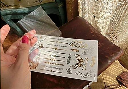 Amaoma 6 Piezas 70 Patrones Tatuajes Temporales, Lujo Metálico Oro ...