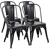 Yaheetech Iron Metal Dining Chairs Stackable Side Chairs Tolix Bar Chairs with Back Indoor/Outdoor Classic/Chic/Industrial/Vintage Bistro Café Trattoria Kitchen Restaurant Black, Set of 4